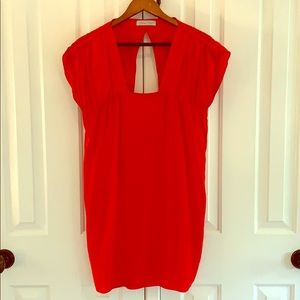 Red silk Geren Ford dress with keyhole detail